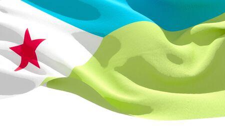 Republic of Djibouti waving national flag. 3D illustration Фото со стока