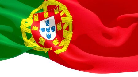 Portuguese Republic waving national flag. 3D illustration