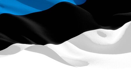 Republic of Estonia waving national flag. 3D illustration Stockfoto
