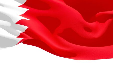 Kingdom of Bahrain waving national flag. 3D illustration