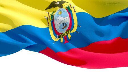 Republic of Ecuador waving national flag. 3D illustration