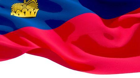 Principality of Liechtenstein waving national flag. 3D illustration