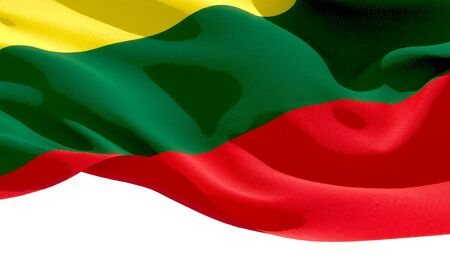 Republic of Lithuania waving national flag. 3D illustration