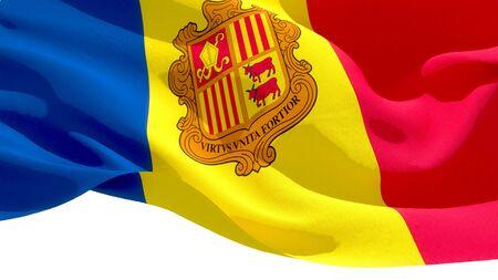 Principality of Andorra national flag 3D blocks background. 3D illustration