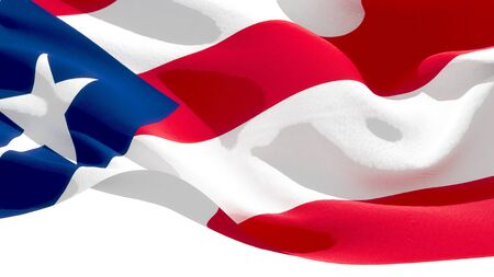 Commonwealth of Puerto Rico waving national flag. 3D illustration