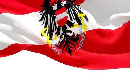 Republic of Austria waving national flag. 3D illustration