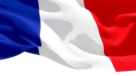 French Republic waving national flag. 3D illustration