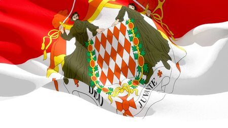 Principality of Monaco waving national flag. 3D illustration