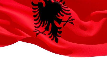 Republic of Albania waving national flag. 3D illustration Фото со стока