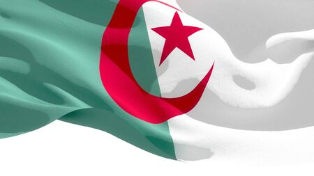 Democratic Republic of Algeria waving national flag. 3D illustration
