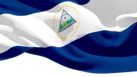 Republic of Nicaragua waving national flag. 3D illustration Фото со стока