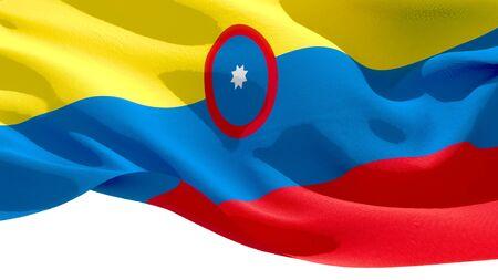 Republic of Colombia waving national flag. 3D illustration Фото со стока