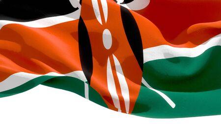 Republic of Kenya waving national flag. 3D illustration