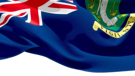 British Virgin Islands waving national flag. 3D illustration