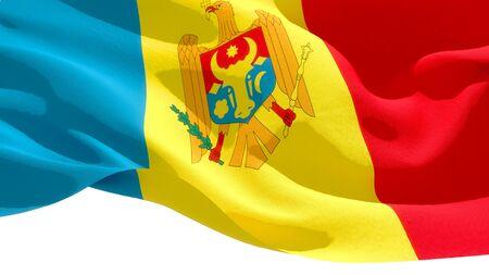 Republic of Moldova waving national flag. 3D illustration