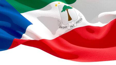 Republic of Equatorial Guinea waving national flag. 3D illustration