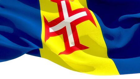Madeira waving national flag. 3D illustration