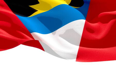 Antigua and Barbuda waving national flag. 3D illustration Stockfoto