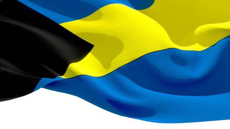 Commonwealth of The Bahamas waving national flag. 3D illustration