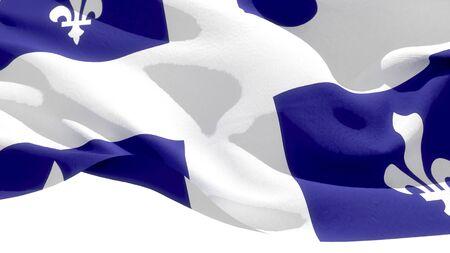 Quebec waving national flag. 3D illustration Фото со стока