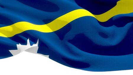Republic of Nauru waving national flag. 3D illustration Фото со стока