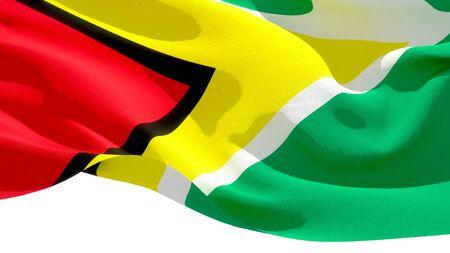 Republic of Guyana waving national flag. 3D illustration Фото со стока