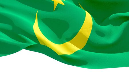 Islamic Republic of Mauritania waving national flag. 3D illustration