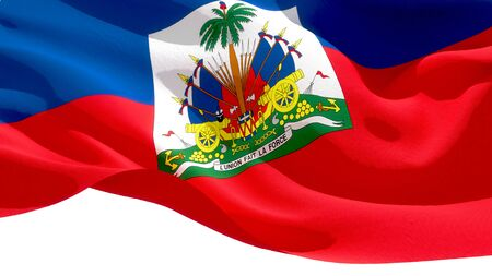 Republic of Haiti waving national flag. 3D illustration Stockfoto
