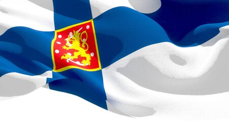 Republic of Finland waving national flag. 3D illustration