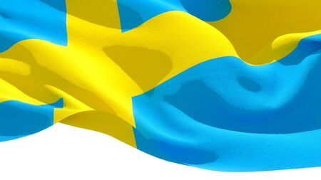 Kingdom of Sweden waving national flag. 3D illustration Фото со стока