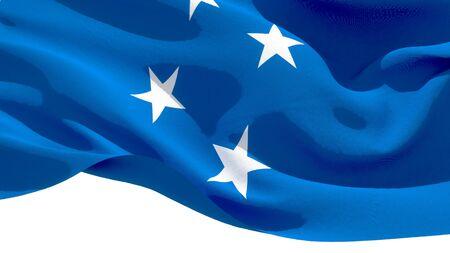 Micronesia waving national flag. 3D illustration