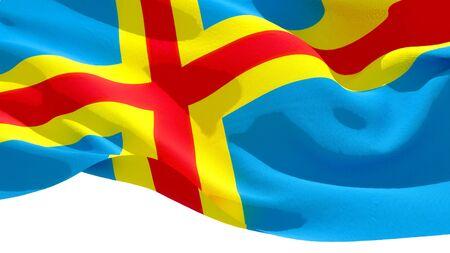 Aland Islands waving national flag. 3D illustration