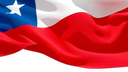Republic of Chile waving national flag. 3D illustration