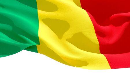 Republic of Mali waving national flag. 3D illustration