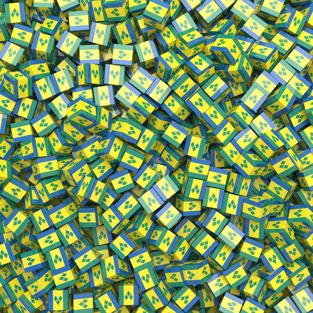 Saint Vincent and the Grenadines national flag 3D blocks background. 3D illustration Standard-Bild