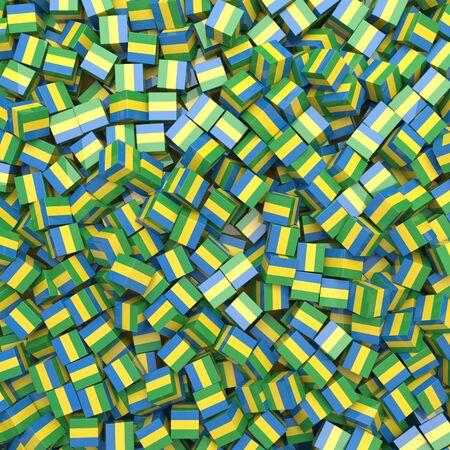 Gabonese Republic national flag 3D blocks background. 3D illustration