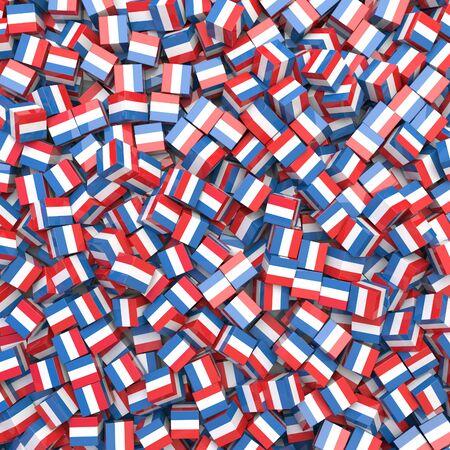 Netherlands national flag 3D blocks background. 3D illustration