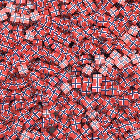 Kingdom of Norway national flag 3D blocks background. 3D illustration
