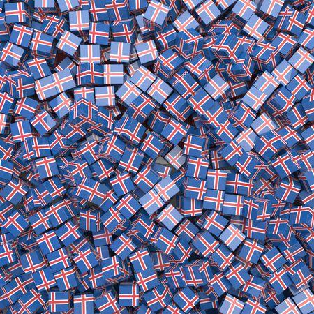 Iceland national flag 3D blocks background. 3D illustration