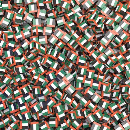 United Arab Emirates national flag 3D blocks background. 3D illustration Standard-Bild
