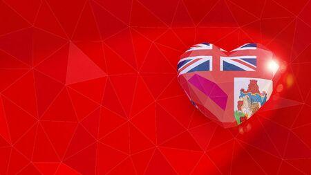 Bermuda national flag 3D heart background. 3D illustration Banco de Imagens