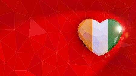 Republic of Cote d Ivoire national flag 3D heart background. 3D illustration Banco de Imagens
