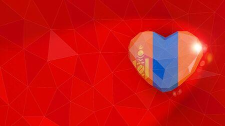 Mongolia national flag 3D heart background. 3D illustration