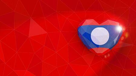 Laos Democratic Republic national flag 3D heart background. 3D illustration