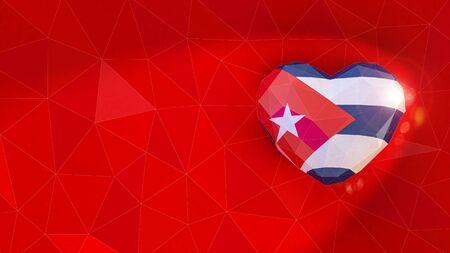 Republic of Cuba national flag 3D heart background. 3D illustration Standard-Bild