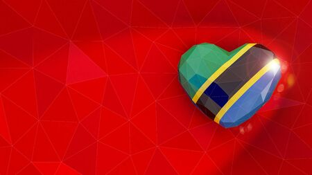 United Republic of Tanzania national flag 3D heart background. 3D illustration