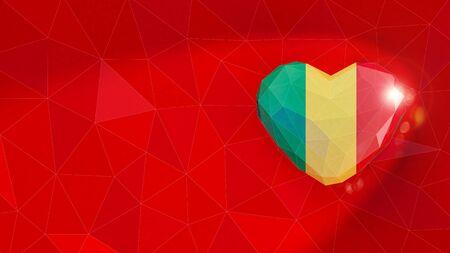 Republic of Mali national flag 3D heart background. 3D illustration Standard-Bild
