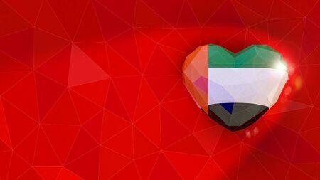 United Arab Emirates national flag 3D heart background. 3D illustration