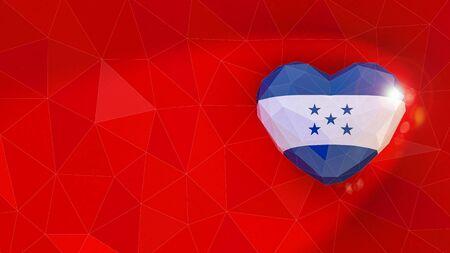 Republic of Honduras national flag 3D heart background. 3D illustration