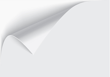 Page curl with shadow on a blank sheet of paper, design element for advertising and promotional message isolated on white background.